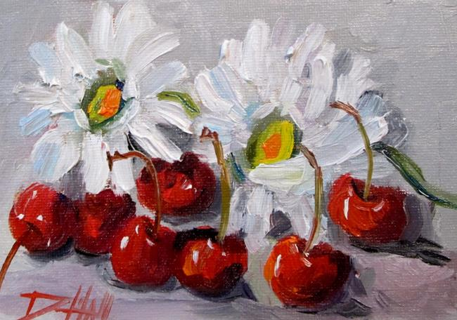 Art: Cherries and Daisies by Artist Delilah Smith