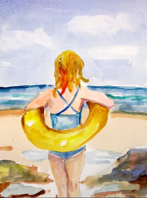 Art: Girl in Intertube by Artist Delilah Smith