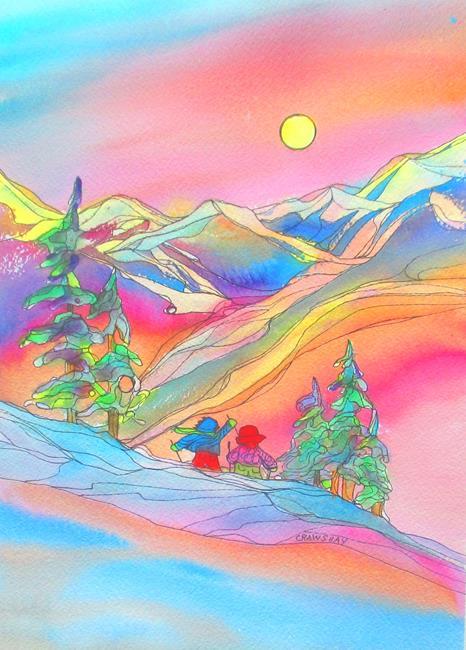 Art: Rock Climbers by Artist Kathy Crawshay
