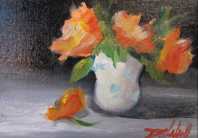 Art: Orange Flower in a Vase by Artist Delilah Smith