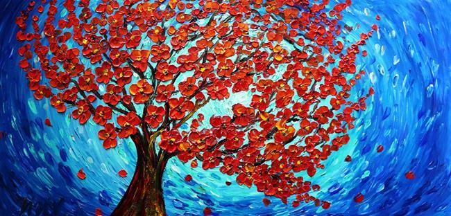 Art: Blooming RED Orange SAKURA by Artist LUIZA VIZOLI