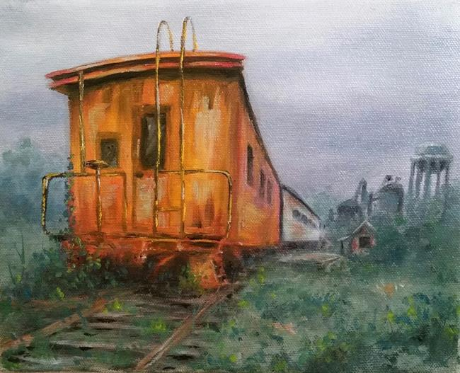 Art: Red Caboose, Demo Painting by Artist Kimberly Vanlandingham
