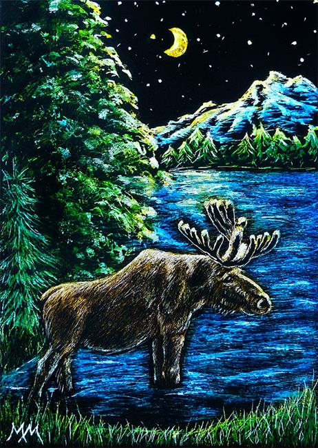 Art: Moose Lake by Artist Monique Morin Matson