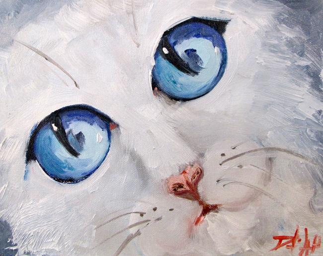 Art: White Cat Blue Eyes by Artist Delilah Smith