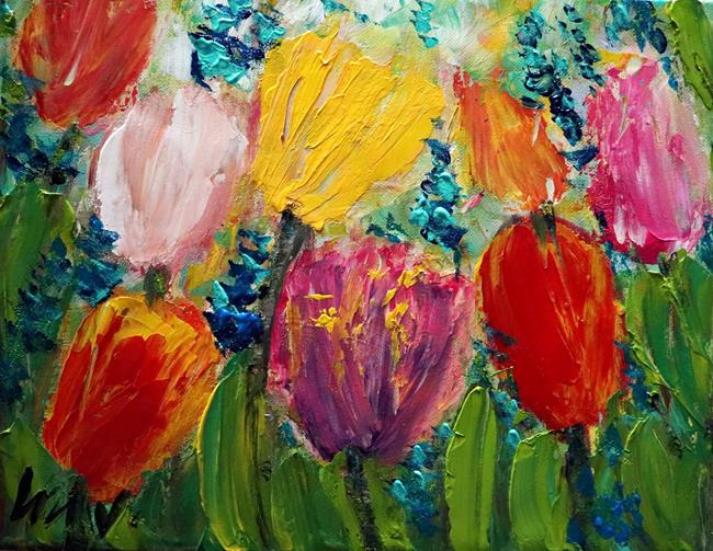 Art: A Glorious Spring Day TULIPS by Artist LUIZA VIZOLI