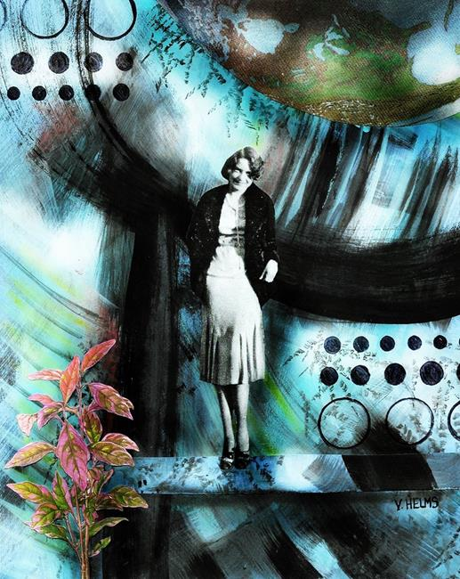 Art: I'll Live a Hermit's Life... While Worlds Collide. Thelma Schiller by Artist Vicky Helms