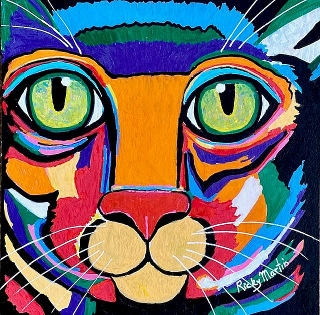 Art: Pop Art Cat - sold by Artist Ulrike 'Ricky' Martin