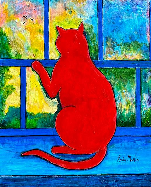 Art: The Red Cat by Artist Ulrike 'Ricky' Martin
