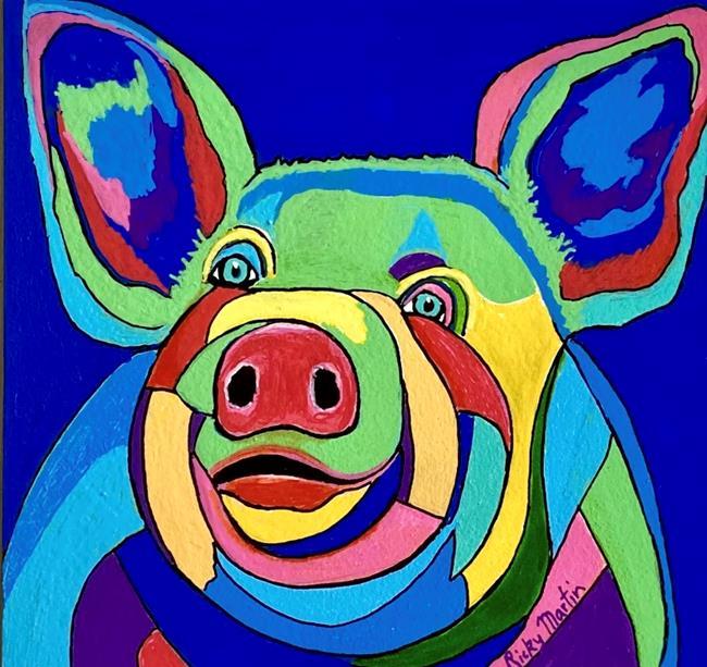 Art: Pop Art Pig by Artist Ulrike 'Ricky' Martin