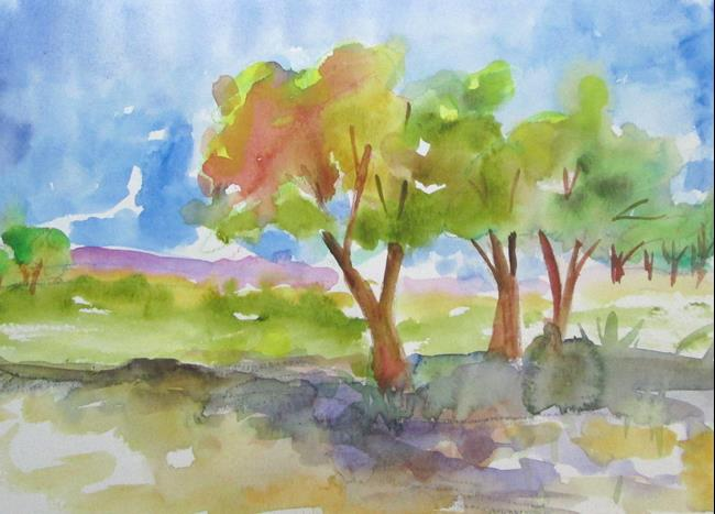 Art: Tree Line Landscape by Artist Delilah Smith