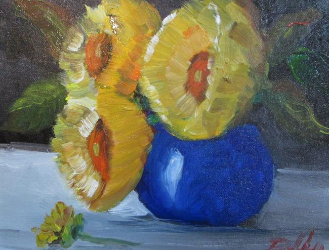 Art: Flowers in a Blue Vase by Artist Delilah Smith