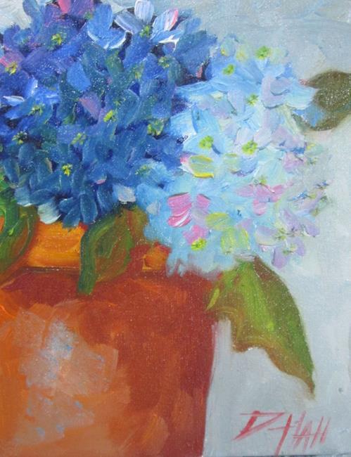 Art: Hydrangeas in a Clay Pot by Artist Delilah Smith