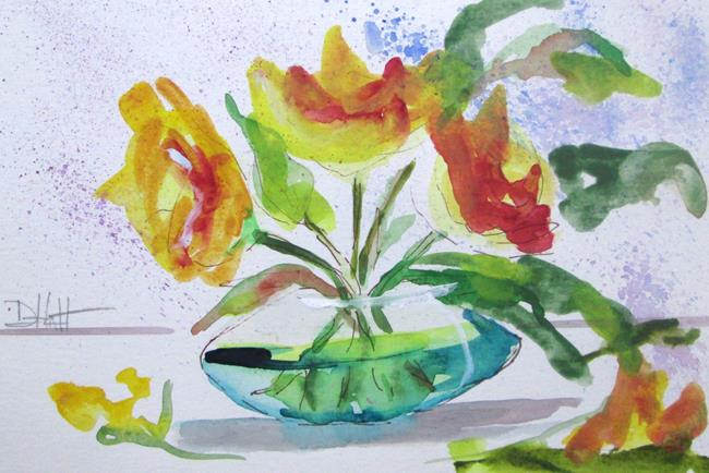 Art: Yellow Flowers in Water by Artist Delilah Smith