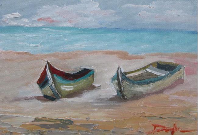 Art: Row Boats on the Beach by Artist Delilah Smith