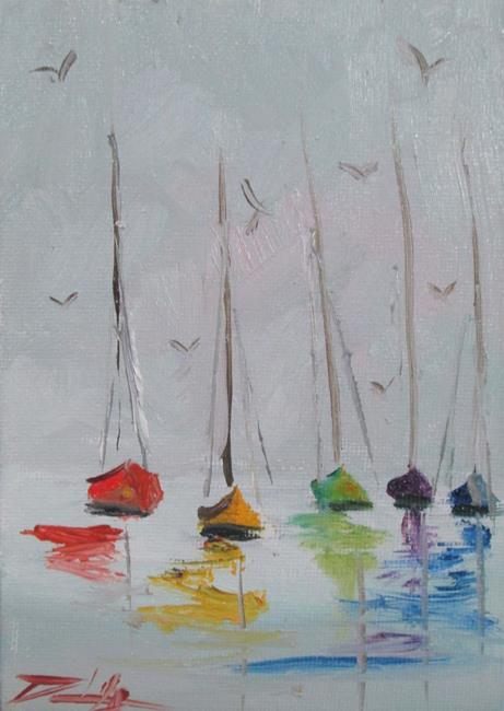 Art: Sailboats on the Ocean by Artist Delilah Smith