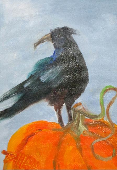 Art: Crow and Pumpkin by Artist Delilah Smith