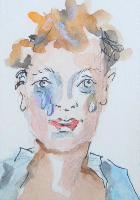 Art: Cry For Me, Face No. 6 by Artist Delilah Smith
