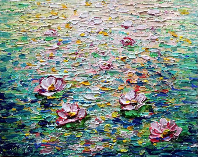 Art: Water Lilies SPRINGTIME HOMAGE to MONET by Artist LUIZA VIZOLI