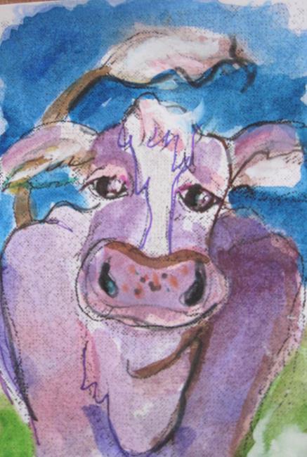 Art: Purple Cow by Artist Delilah Smith