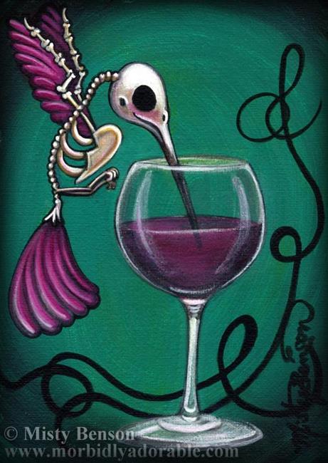 Art: Hummingbird Skelly Drinking Wine by Artist Misty Monster (Benson)