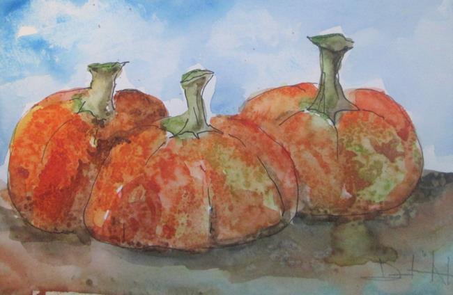 Art: Three Pumpkins by Artist Delilah Smith