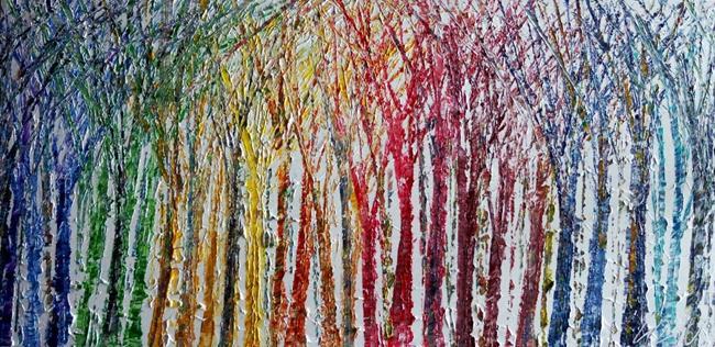 Art: Rainbow Colors Trees by Artist LUIZA VIZOLI