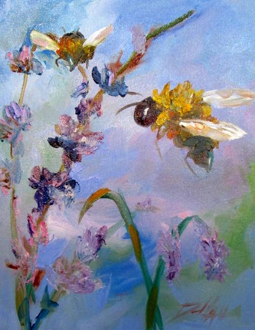 Art: Bees and Lavender by Artist Delilah Smith
