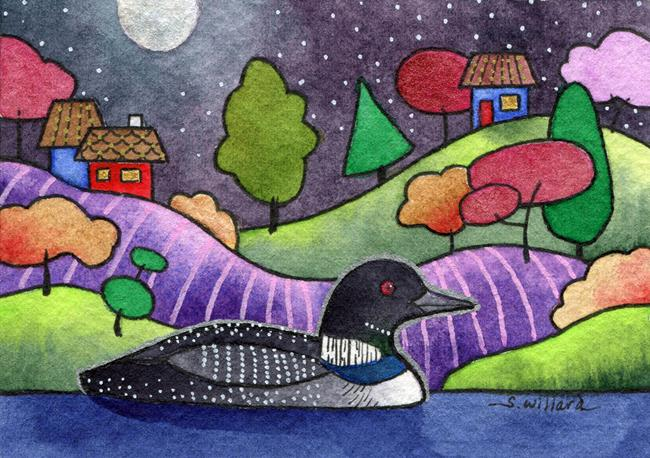 Art: Moonlit Loon by Artist Sandra Willard
