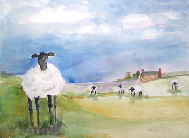 Art: Sheep in the Field by Artist Delilah Smith