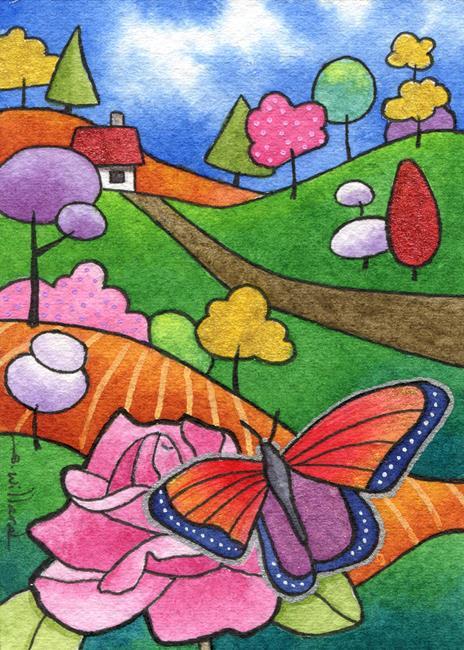 Art: Butterfly and Rose by Artist Sandra Willard