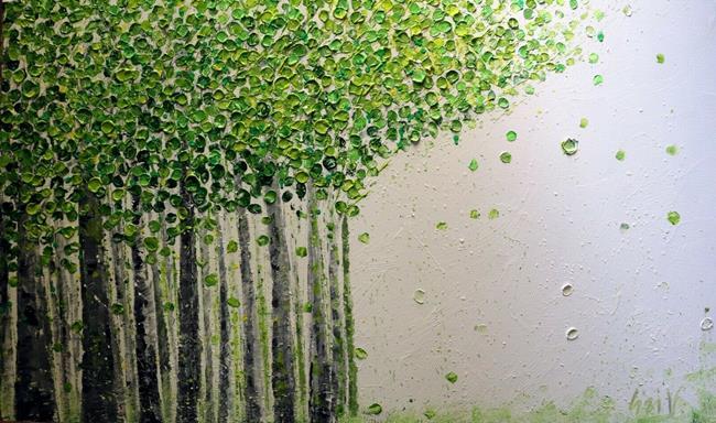 Art: SOFT GREEN SPRING BIRCH TREES by Artist LUIZA VIZOLI