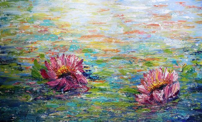 Art: LOTUS FLOWERS  ABSTRACT ART by Artist LUIZA VIZOLI