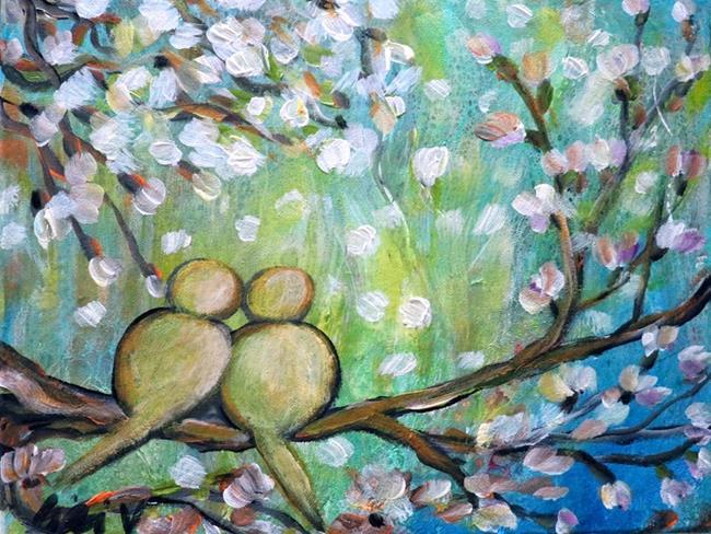Art: SPRING LOVE Raining Cherry Flowers by Artist LUIZA VIZOLI