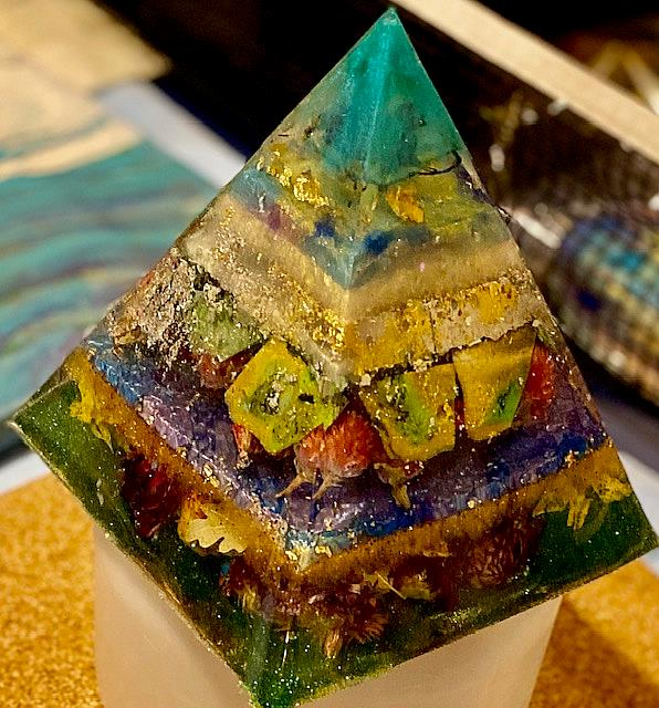 Art: Resin Pyramid by Artist Ulrike 'Ricky' Martin