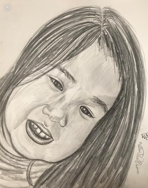 Art: A young little girl. by Artist William Powell Brukner