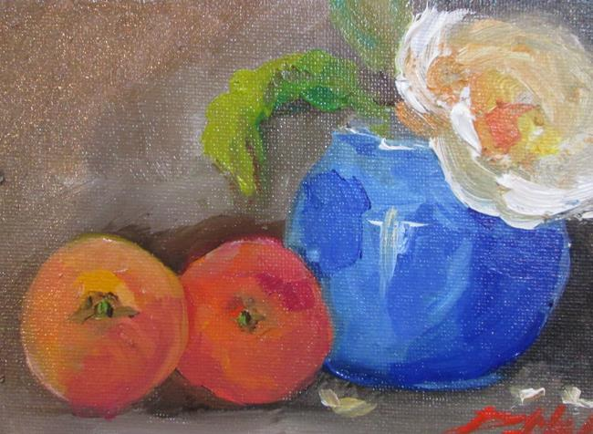 Art: Peach Still Life by Artist Delilah Smith