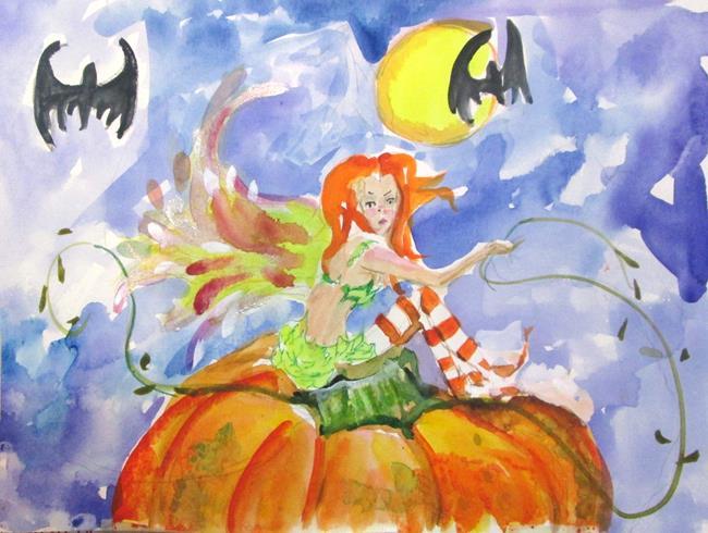 Art: Fairy on a Pumpkin by Artist Delilah Smith