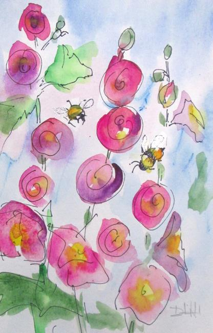 Art: Hollyhocks and Bees by Artist Delilah Smith