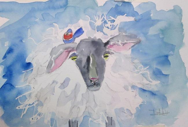 Art: Sheep and Bird by Artist Delilah Smith