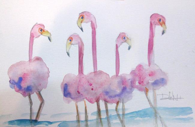 Art: Flock of Flamingos No. 3 by Artist Delilah Smith