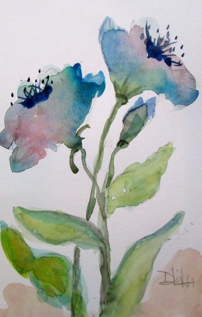 Art: Two Blue Flowers by Artist Delilah Smith