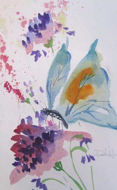 Art: Butterfly on a Flower by Artist Delilah Smith
