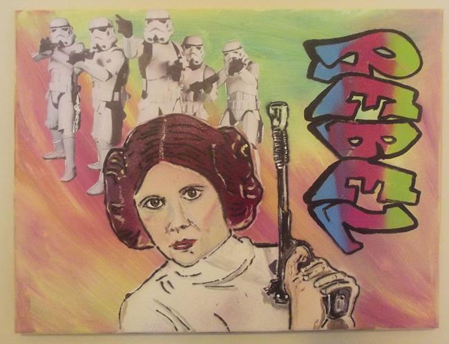 Art: Princess Leia Star Wars Rebel Original Graffiti Art by Artist Paul Lake, Lucky Studios