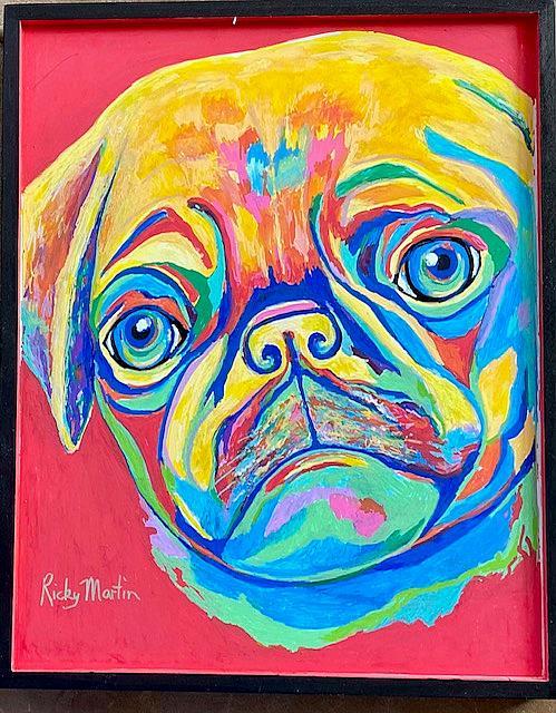 Art: Pop Art Pug Portrait by Artist Ulrike 'Ricky' Martin
