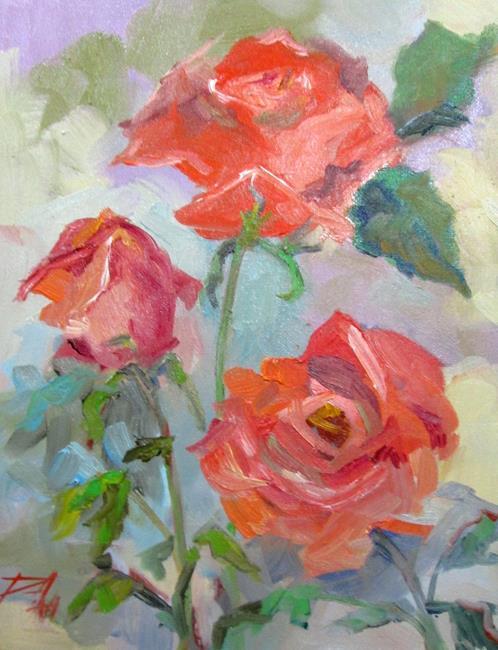 Art: Roses in the Garden by Artist Delilah Smith