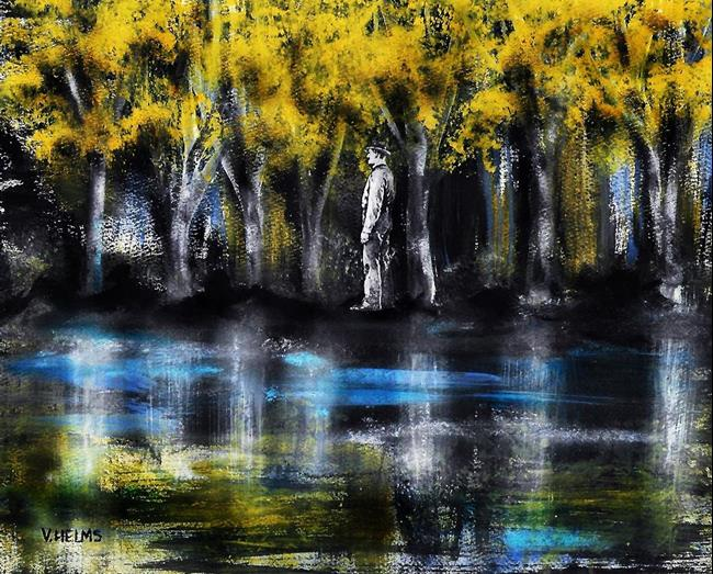 Art: Man in Woods by Artist Vicky Helms