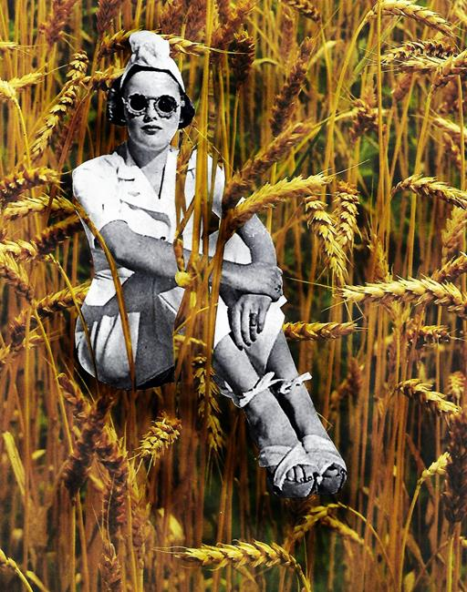 Art: Wheat or Trying to Disappear but Failing by Artist Vicky Helms