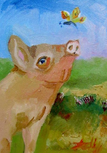 Art: Pig and Butterfly by Artist Delilah Smith
