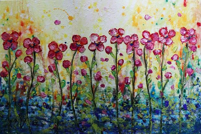 Art: PINK DAISY FLOWERS Rainy Day by Artist LUIZA VIZOLI