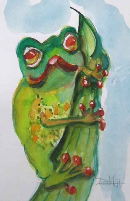 Art: Frog on a Leaf by Artist Delilah Smith